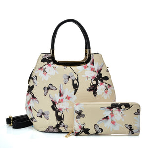 VK5630-KHAKI - Shell Set Bag With Flowers And Butterflies And Special Handle Design