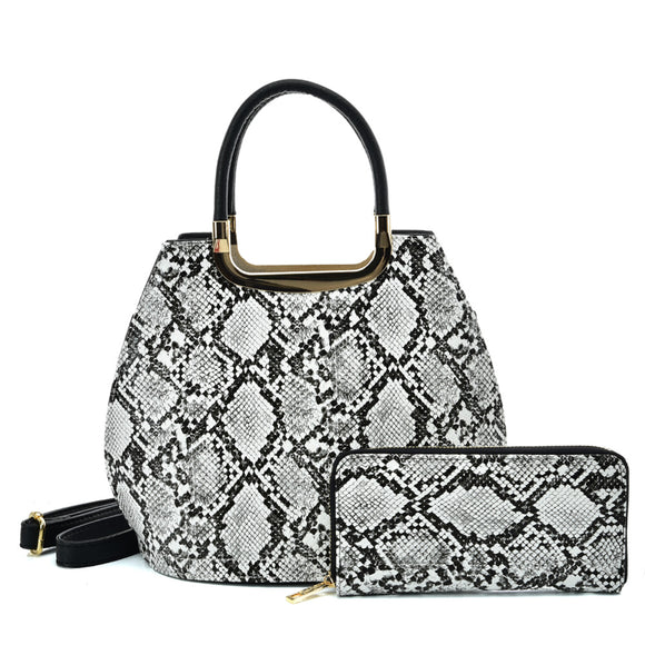VK2137 BLACK&WHITE - Shell Set Bag With Snakeskin Pattern Design