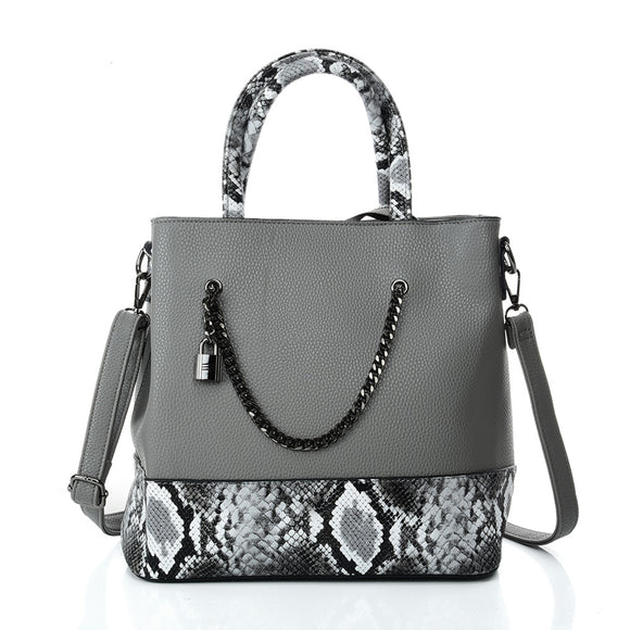 VK5605 GREY - Simple Tote Bag With Chain And Lock Decoration