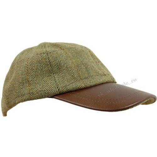 Tweed Leather Skip Hat, Shooting Hunting Caps, Leather Peak Hats