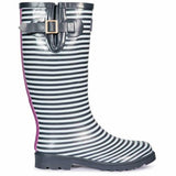 Trespass Samira Ladies Wellington Boots Blue Stripped Adjustable Wellies UK 4-8
