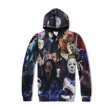 Harajuku Men/Women Hoodies 3D All Over Print Horror Movie Killers/Halloween Devil/Shark/Zombie Sweatshirtgeekbuyig-geekbuyig