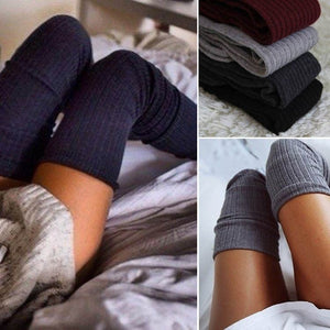 Womens Winter Soft Cable Knit Over knee Long Boot Thigh-High Warm Socks-geekbuyig