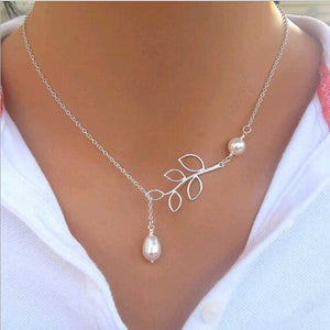 Hot Sale Luxury Leaf Imitation Pearl Necklace Circle Lariat Necklace Jewelry Wedding Party Gift Tree leaf pearl necklace-geekbuyig