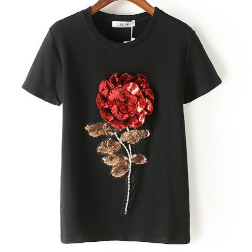 New Summer women sequin t shirt fashion cotton female rose flower tops t-shirt camisetas mujer-geekbuyig