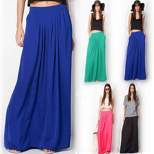Summer Vintage Long Skirt Womens saia Elastic Waist Elegant Thin Pleate Skirt Ladies Casual Beach Solid Maxi Skirts faldas-geekbuyig