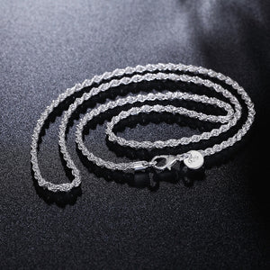GINSTONELATE 16-24inches Rope chain NEW ARRIVE hot sale fashion 925 cute silver plated women men Necklace jewelry for pendant-geekbuyig