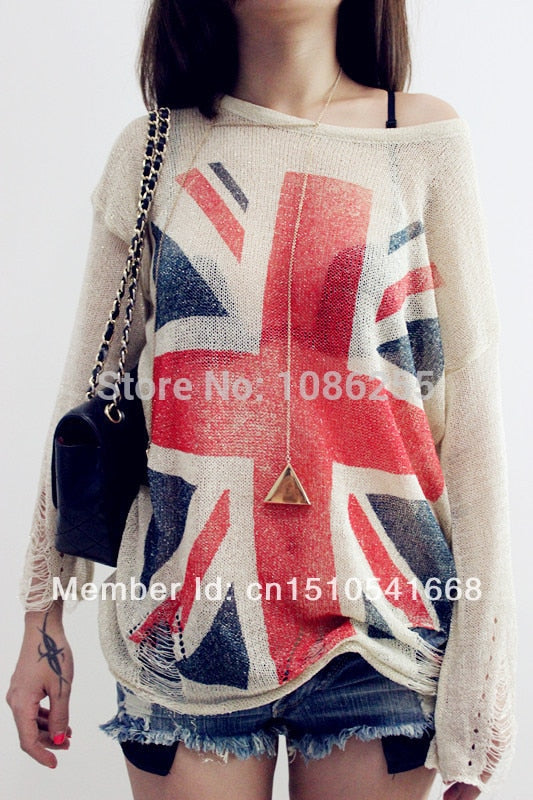 Hot sale ~ Women's Distressed British UK flag Print Hole Knit Sweaters Oversized Knitwear Jumper Tops knitted Pullover-geekbuyig
