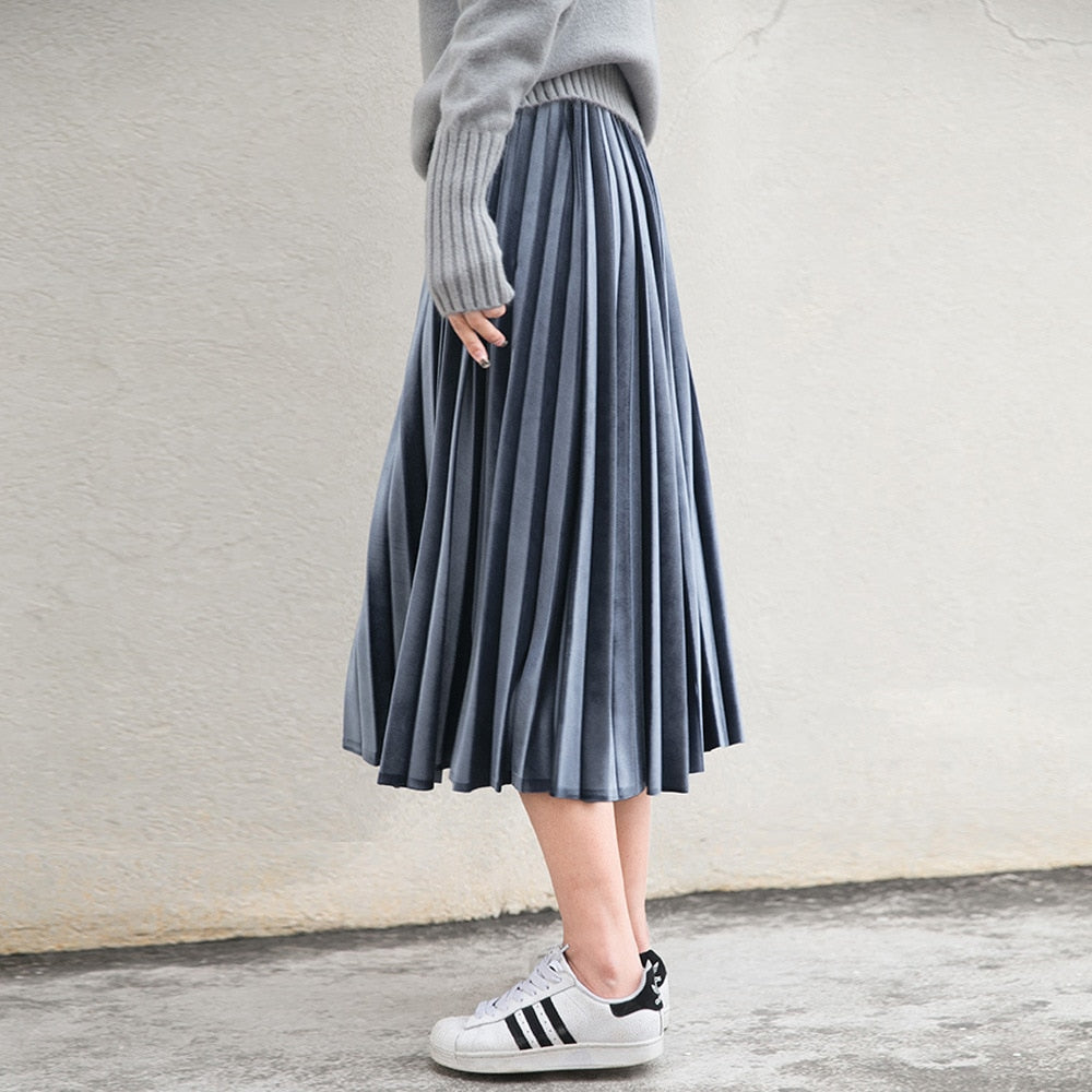 Women Long Metallic Silver Maxi Pleated Skirt Midi Skirt High Waist Elascity Casual Party Skirt-geekbuyig