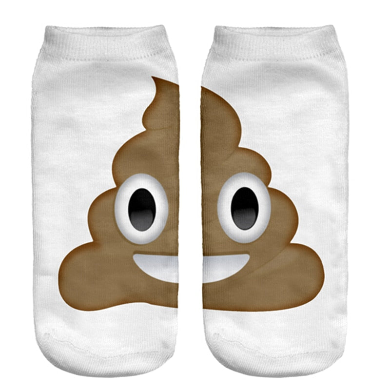 Fashion Hosiery 3D Poop Emoji Print Men Women Socks Cool Ankle Crew Socks Pretty Kids Slipper Socks Free Ship high quality-geekbuyig