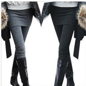 One Piece Women Skirt Leggings Autumn Fashion Solid Footless Legging Skirt With Pants Skinny Boot Pants Casual Wear KZ-002-geekbuyig