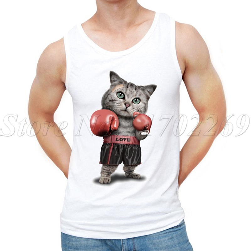 Newest Summer Fashion Puglism Cat design Men Tank tops strong cat printed hipster Vest