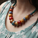 Fashion jewelry handmade Ceramic beads Rope Chain Choker Necklace High Quality Personality Ethnic Necklace Gift For Women-geekbuyig