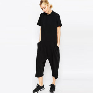 new black loose rompers womens jumpsuit seven big jumpsuit side pocket loose-fitting jumpsuits romper overalls for women-geekbuyig
