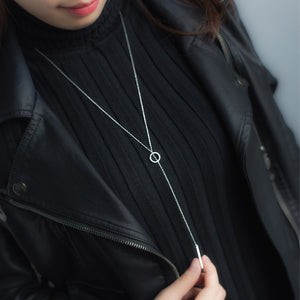 women's Real. Sterling Silver Jewelry Lucky Bar Lariat Necklaces Sweater Necklace Long 925 -Sterling -Silver GTLX1196-geekbuyig
