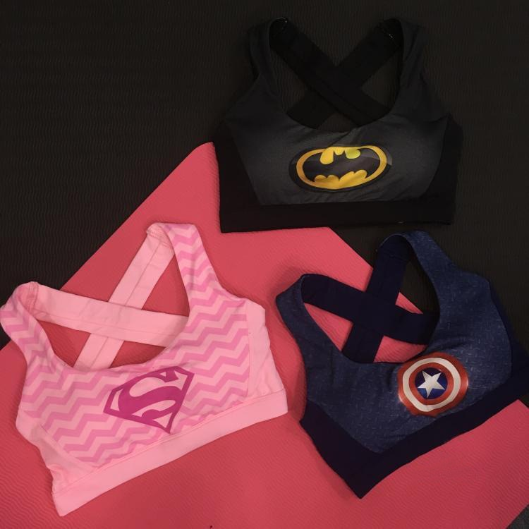 Women Quick Dry Fashion Bra with Padded Tops Vest Wireless Hollow Out Superhero Superman/Batman/Captain America Tank Tops-geekbuyig