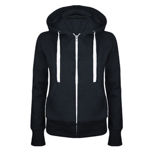 Hot New Winter Autumn Women Hoodie Sweatshirt Casual Hooded Top Coat Pullover Zipper Jacket Solid Color Hoodies Sweatshirts-geekbuyig