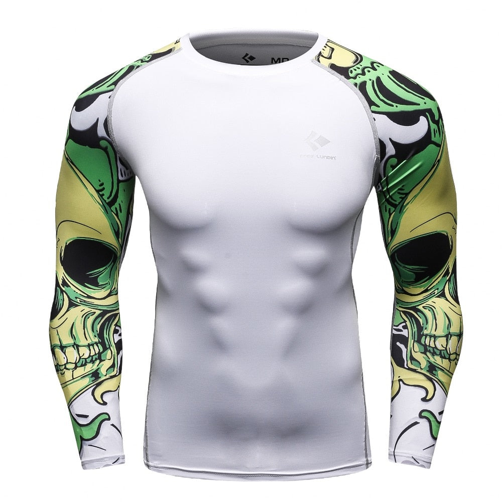 Men Compression Shirts MMA Rashguard Keep Fit Fitness Long Sleeves Base Layer Skin Tight Weight Lifting Elastic T Shirts Homme-geekbuyig
