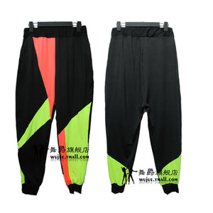 Kids Adult Brand Spring Summer Sweatpants Costumes wear thin Colorful patchwork Panelled jazz trousers harem Hip Hop Dance Pants-geekbuyig
