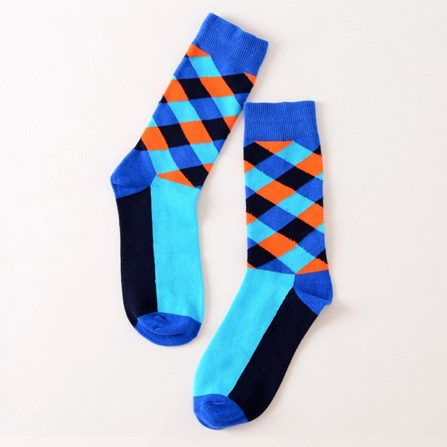 New Color Men Happy Cotton Argyle Crew Socks British Style Diamond Street Brand Designer Cool Pattern Long Dress Business-geekbuyig