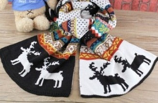 2016 Winter New Fashion Snow Flower Deer Print Women Men Causal Scarf thick warm wool scarves Free Shipping-geekbuyig
