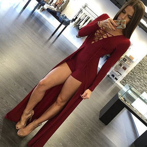 New Fashion Style Sexy Design Bodycon Jumpsuit Long Sleeves Playsuit Black Elegant Rompers Womens Jumpsuit Overalls for Women-geekbuyig