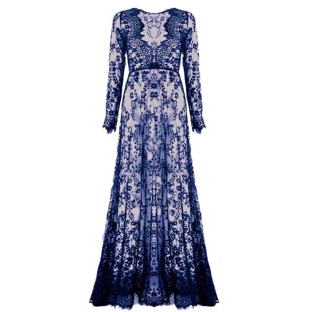 Fashion Summer Women Asymmetrical Patchwork Dress Hollow Out Long Sleeve V Neck Lace Maxi Dresses-geekbuyig