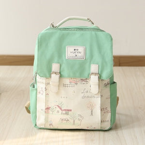Women Canvas Backpack School bag For Girl Ladies Teenagers Casual Travel bags Schoolbag Backpack-geekbuyig