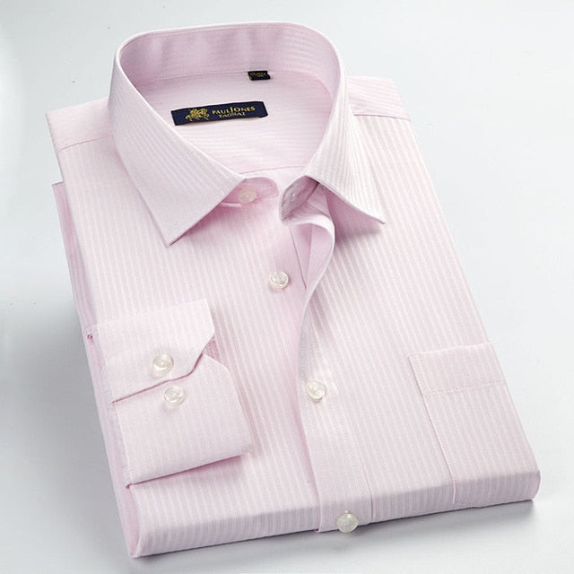 Classic Striped Men Dress Shirts Long Sleeve Plus Size Business Formal Shirts Male Casual Shirts camisa masculina camisas hombre-geekbuyig