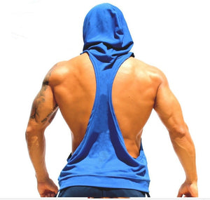 Men's Novelty Tight-fitting Active Cotton Fitness Hooded Tank Tops For Men New Fashion Sleeveless Beauty Bodybuilding Vests XXL-geekbuyig