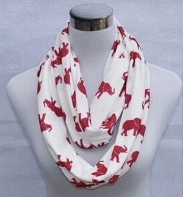 Knit Jersey Cotton Red White Animal Elephant Infinity Scarf Circle Scarves Ring DST Scarf Delta Sigma Theta Inspired gift-geekbuyig