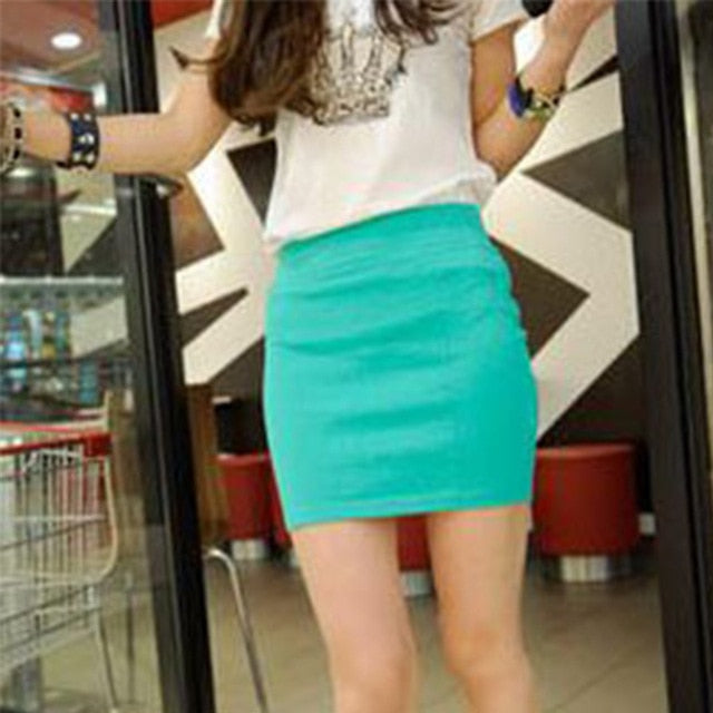 Fashion Women Ladies Sexy Summer Package Hip Pencil Skirt Seamless Elastic Pleated High Waist Slim Mini Skirts For Office Party-geekbuyig