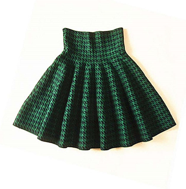 Autumn Winter Skirts Womens High Waist Knitted tutu Skirt Casual Pleated midi short Skirts saia faldas Black gray blue green red-geekbuyig