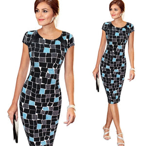 Vfemage Women's Spring Summer Printed Synthetic Leather Wear to Work Office Business Casual Pencil Dress vestidos 1755-geekbuyig
