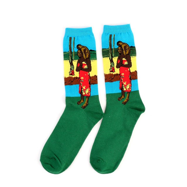 New Men Women Fashion Vintage Art Cotton Crew Socks Painting Pattern Harajuku Design Sox Van Gogh Retro Street wholesale-geekbuyig