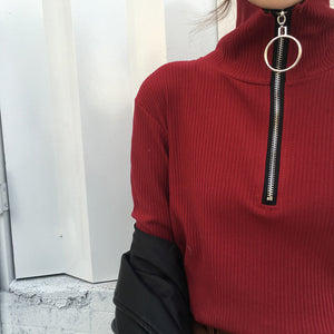 Harajuku Vintage Circle Ring Long Sleeve Tee Turtleneck Zipper Knitted Pullover 121116-geekbuyig