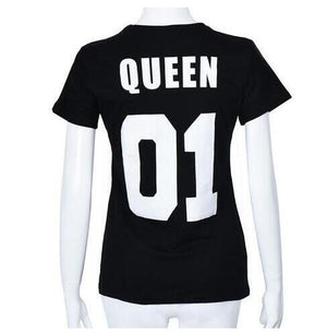100% Cotton Matching T shirt King 07 Queen 07 Prince Princess Newborn Letter Print Shirts,Couples Leisure Short Sleeve O neck T-geekbuyig