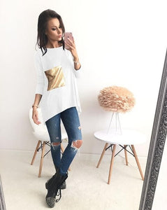 Nice Breif T-Shirts Women's Asymmetric O Neck Long Bottoming Tunic T Shirts with Sequined Tshirts Top Plus Size Tee Top LX101-geekbuyig