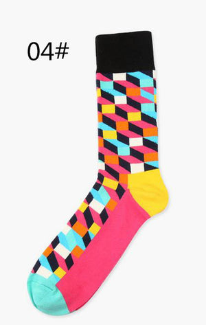 Happy Brand ideasox Socks Gradient Color Paragraph winter British style lattice Pure Cotton Stockings Men's Knee High Socks-geekbuyig