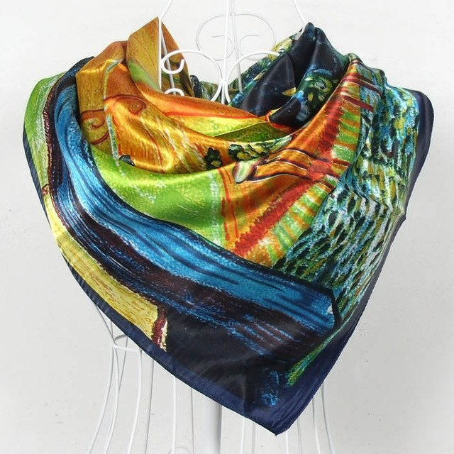 Spring Autumn Female Silk Square Scarf Shawl China Style Polyester Satin Big Square Scarves Women Silk Scarves Coffee 90*90cm-geekbuyig