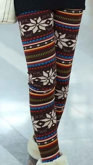 1pc Aztec Leggings Women Stretchy Knit Christmas Gift Snowflake Leggins Ankle Length Tribal Printed Casual Skinny Slim Legging-geekbuyig