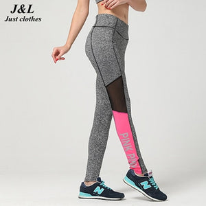 Mesh Splicing Women Leggings Push Up Bodybuilding Pants High Elasticity Letter PINK Patchwork Fitness Leggings Women Plus Size-geekbuyig
