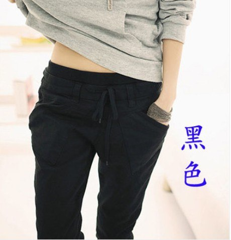 New 2017 spring women's harem pants loose casual solid color high quality elastic waist trousers plus size women pants T-127-geekbuyig
