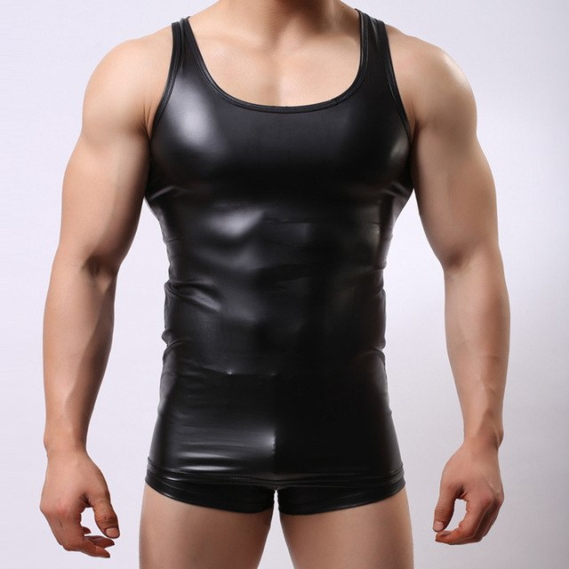 Plus Size M/L/XL/XXL Mens Sexy Vest Faux Leather Tank Tops For Male Gay Wear Men's Undershirts Lingerie Tees 2018 Hot