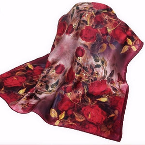 2016 Quality Silk Small Facecloth Women Square Silk Scarf,Hot Sale Spring And Autumn Mulberry Silk Scarf,Flower Pattern Scarf-geekbuyig