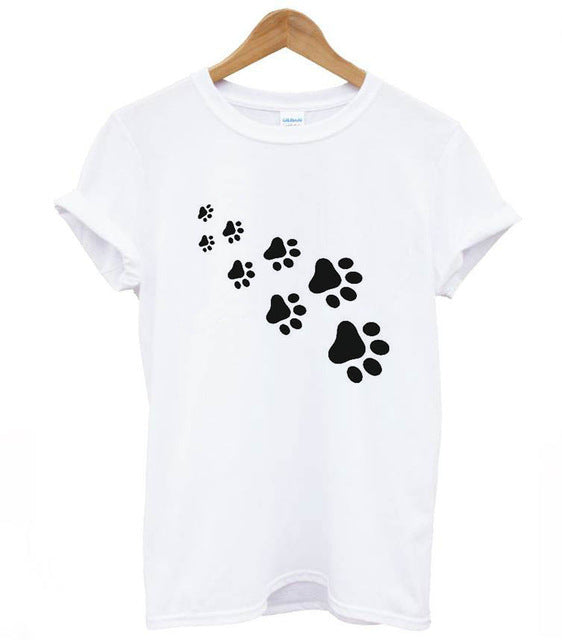 cat paws print Women tshirt Cotton Casual Funny t shirt For Lady Top Tee Hipster gray black white Drop Ship Z-326-geekbuyig
