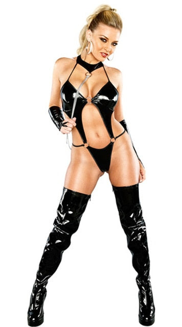 Sexy Bandage Black Catwomen Jumpsuit Latex PVC Catsuit Costumes Women Dance Body Suits Fetish Leather DS Game Clothes-geekbuyig