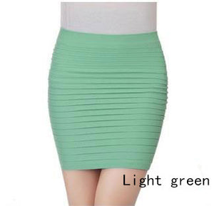 New Fashion 16 Colors Summer Women Skirts High Waist Candy Color Plus Size Elastic Pleated Short Skirt Free Shipping QB001-N-geekbuyig
