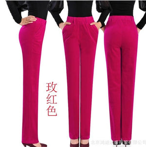 women's autumn Winter corduroy trousers waist straight female plus size 7xl thin corduroy pants casual pants-geekbuyig
