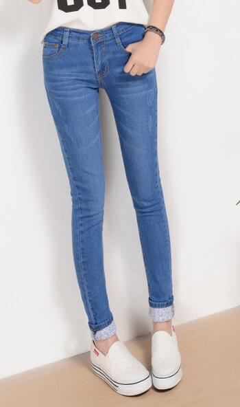 6 EXTRA LARGE Autumn New Models Two Cuffs Worn Jeans Female Casual Trousers Pencil Pants Jeans Woman High Waist Jeans-geekbuyig